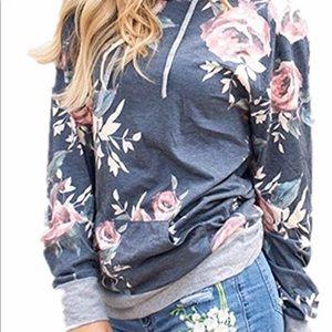 Women's lightweight floral hoodie